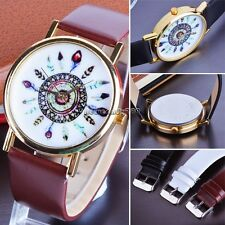Leather Feather Geneva Watch For Women Dress Watch Quartz Black&coffee Watches