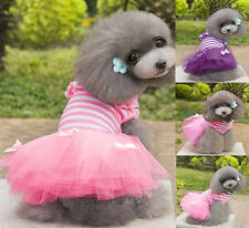 NEWEST Pet Dog Cotton&Tulle Stripe Clothing Lovely Costume Dress Clothes Apparel