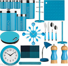 Blue Kitchen Storage Tea, Coffee,Sugar ,Cutlery Set, Clock And Accessories