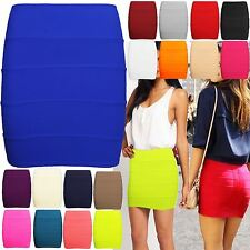 NEW LADIES WOMENS BODYCON STRETCH RIBBED BANDAGE PANEL MINI PARTY NEON SKIRTS