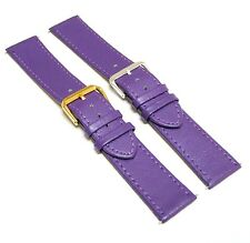 22mm Purple Leather Women Watch Strap Band with Gold Silver Buckle