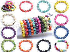 1Pcs Turquoise Sugar Skull Charms Beads Elastic Wristband Bracelets U Pick Color