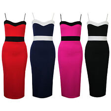 Womens Adjustable Strap Colour Contrast Stretch Bodycon Midi Summer Party Dress