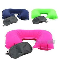 Unisex Travel Kit Set Ear Plug Eye Sleep Mask Inflatable Neck Pillow Essential