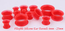 Red Silicone Eyelet Tunnel Ear Expander Stretcher Flexible Double Flare 4m- 25mm