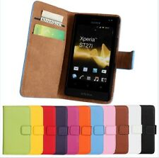 Genuine Leather Wallet Stand Case Cover Protector Skin For Sony xperia Go ST27i