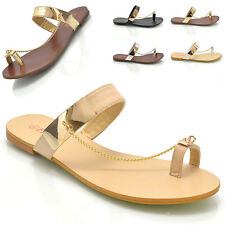 WOMENS FLAT TOEPOST GOLD TRIM THONG LADIES BEACH FLIP FLOP SANDALS SHOES SIZE