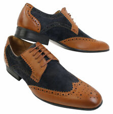 Mens Italian Leather & Suede Navy Tan Brown Classic Brogue Shoes Smart Casual