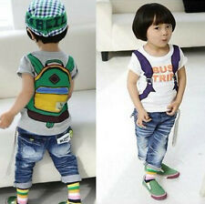 Boys Tops School Bag Pattern Shirts Kids Fashion T-shirt Costume Clothes Sz 1-5Y
