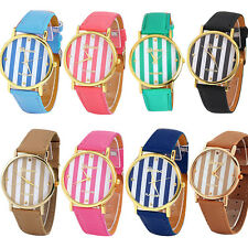 Vogue Exquisite Unisex Geneva Stripes Print Leatheroid Analog Quartz Wrist Watch