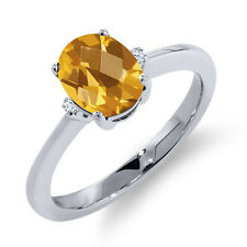 1.27 Ct Oval Checkerboard Yellow Citrine White Sapphire 18K White Gold Ring