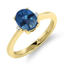 1.62 Ct Oval Royal Blue Mystic Topaz White Sapphire 14K Yellow Gold Ring