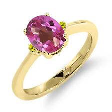 1.53 Ct Oval Pink Mystic Topaz Canary Diamond 14K Yellow Gold Ring