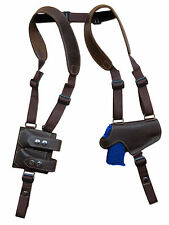 Brown Leather Thumb Break Shoulder Holster w/Mag Pouch SIG Walther 380 9mm 40 45