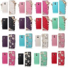 For HTC One M8 Bling Diamond Luxury 3D Leather Flip Wallet Case Cover