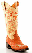 "Gameday Boots Ladies 13"" Tall Orange/Bone Leather University Texas Cowboy Boots"