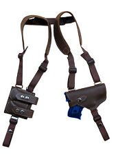 NEW Barsony Brown Leather Shoulder Holster w/ Dbl Magazine Pouch S&W M&P Compact