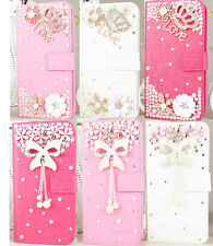 Luxury 3D Diamond Rhinestone Bling Stand Wallet Leather Case Cover For Htc PHONE
