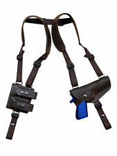 NEW Barsony Brown Leather Shoulder Holster Dbl Magazine Pouch Sig Full Size 9mm