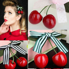 Cherry Bow Hair Clip for Pinup girls, retro, vintage, rockabilly hair accessory