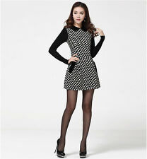 2014 Women Doll Collar Knitted Long Sleeve Flowers Wool Slim Waisted Dress NC
