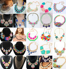 Fashion Jewelry Pendant Chain Choker Crystal Statement Necklace Bib Chunky UK423