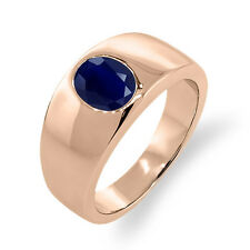 2.50 Ct Oval Blue SI1/SI2 Sapphire 14K Rose Gold Men's Solitaire Ring