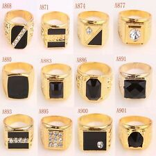 Men 14k Gold Filled Enamel & Crystal Size 12 Ring Jewelry & Gift In 12 Styles