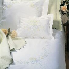 SFERRA SWEET WILLIAM HAND-EMBROIDERED PERCALE FLAT SHEET