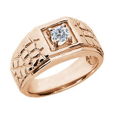 0.50 Ct Round G/H SI2/I1 Diamond 925 Rose Gold Plated Silver Men's Ring