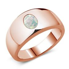 1.05 Ct Oval Cabochon White AAA Simulated Opal 18K Rose Gold Men's Ring