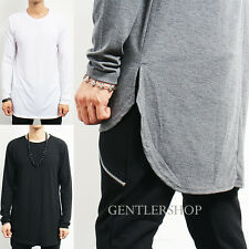Mens Fashion Loose Fit Long Back Hem Long Sleeve T Shirt - 3 Colors, GENTLERSHOP