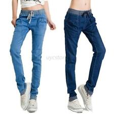 Women Vintage Denim Jeans Elastic Stretch Waist Harem Pants Casual Trousers Hot