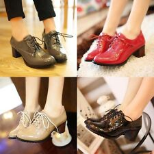 New womens patent leather chunky heels lace-ups goth pumps oxford shoes all size