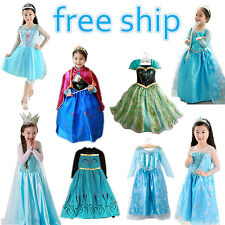 Kids Girls Disney Frozen Elsa Anna Princess costume dress party dresses 3-8T