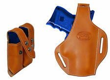 New Tan Leather Pancake Gun Holster + Dbl Mag Pouch Smith&Wesson Comp 9mm 40 45