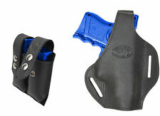 New Black Leather Pancake Gun Holster + Dbl Mag Pouch CZ EAA Compact 9mm 40 45