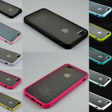 New For iPhone 4 5 S TPU Bumper Frame With Matte Clear Hard Back Skin Case Cover