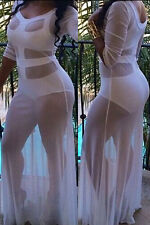 Hot Summer Autumn White Sultry See-through Cutout Gown Women Elegant Wear LC6493