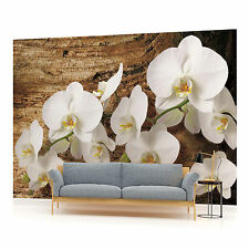 Orchids on Old Wood Photo Wallpaper Wall Mural (CN-1017VE)