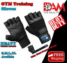 DAM Weight Lifting Body Building Gloves Gym Strap Wraps Training Cowhide Leather