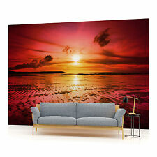 Sunset on the Beach in Red Photo Wallpaper Wall Mural (CN-263P)