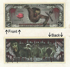 Zombie Apocalypse Undead Dollars Novelty Bill Notes 1 5 25 50 100 500 or 1000