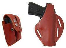 New Burgundy Leather Pancake Holster + Dbl Mag Pouch CZ EAA FEG Full Size 9mm 40