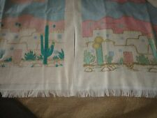 CANNON SOUTHWESTERN KITCHEN TOWEL CACTUS TURQUOISE CORAL GOLD CREAM 22 X 15
