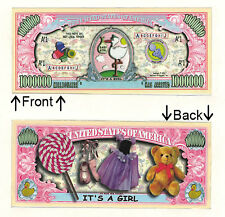 Its A Girl One Million Dollars Bill Novelty Notes 1 5 25 50 100 500 or 1000