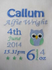 Personalised Baby Blanket - Embroidered Fleece - Owl New Baby / Christening Gift