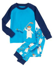 Nwts 6 12 18 24 GYMBOREE Slap Shot Polar Bear Hockey Pajamas Gymmies U pic