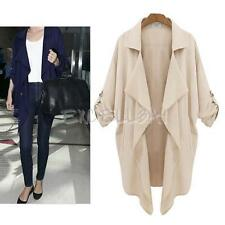 Women Fashion Vintage Long Sleeve Lapel Thin Long Trench Coat Outwear E0Xc