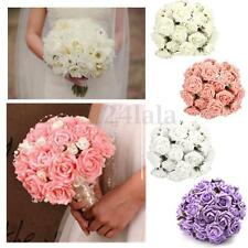 50X Artificial Flowers Fake Foam Flowers Roses Wedding Bridal Bouquet Decor 7cm